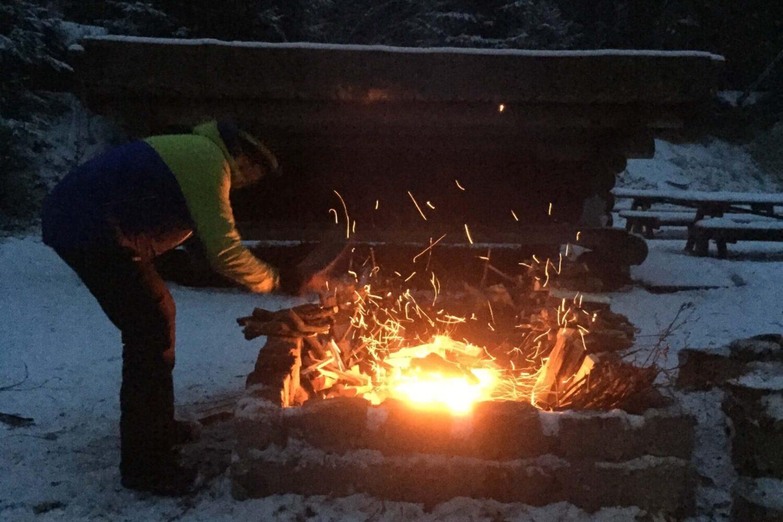Aftenbål i vintertid